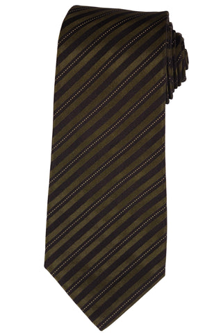 KITON Napoli Hand-Made Seven Fold Olive-Black Striped Silk Tie NEW - SARTORIALE - 1