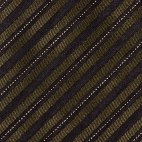 KITON Napoli Hand-Made Seven Fold Olive-Black Striped Silk Tie NEW - SARTORIALE - 4