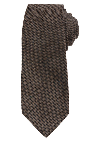 KITON Napoli Hand-Made Seven Fold Olive BROWN WOVEN Silk Tie NEW