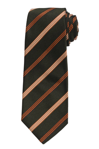 KITON Napoli Hand-Made Seven Fold Olive Textured Striped Silk Tie NEW