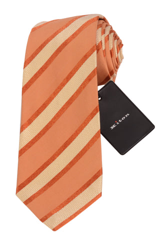 KITON Napoli Hand-Made Seven Fold Orange-Cream Striped Silk Tie NEW