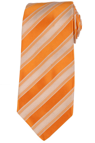 KITON Napoli Hand-Made Seven Fold Orange-White Striped Silk Tie NEW - SARTORIALE - 1
