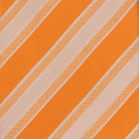 KITON Napoli Hand-Made Seven Fold Orange-White Striped Silk Tie NEW - SARTORIALE - 4