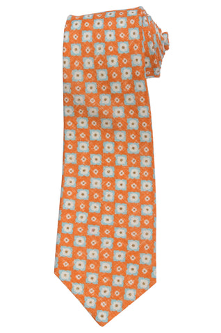 KITON Napoli Hand-Made Seven Fold Orange Flower Medallion Silk Linen Tie NEW