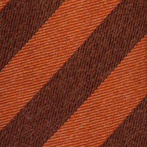 KITON Napoli Hand-Made Seven Fold Orange Narrow Striped Textured Silk Tie NEW