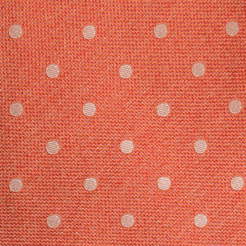 KITON Napoli Hand-Made Seven Fold Orange Polka-Dot Silk Tie NEW