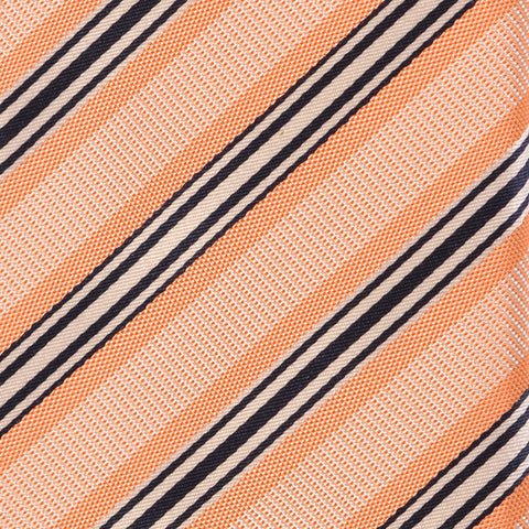 KITON Napoli Hand-Made Seven Fold Orange Repp Striped Silk Tie NEW - SARTORIALE - 4