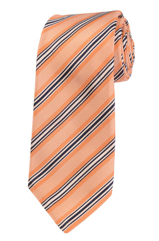 KITON Napoli Hand-Made Seven Fold Orange Repp Striped Silk Tie NEW - SARTORIALE - 1