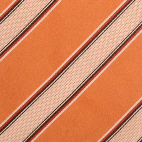 KITON Napoli Hand-Made Seven Fold Orange Striped Silk Tie NEW