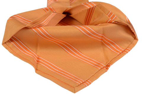 KITON Napoli Hand-Made Seven Fold Orange Striped Silk Tie NEW - SARTORIALE - 2
