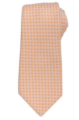 KITON Napoli Hand-Made Seven Fold Peach Small Floral Silk Tie NEW