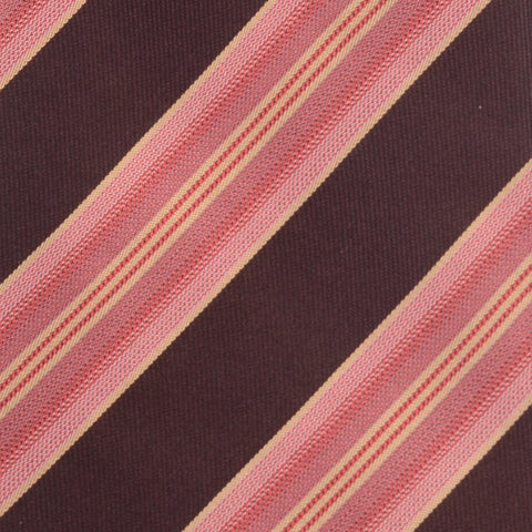 KITON Napoli Hand-Made Seven Fold Pink-Brown Striped Silk Tie NEW