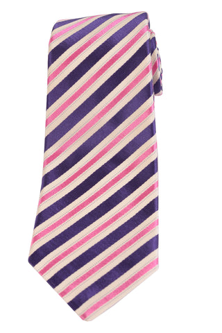 KITON Napoli Hand-Made Seven Fold Pink-Purple Repp Striped Silk Tie NEW - SARTORIALE - 1