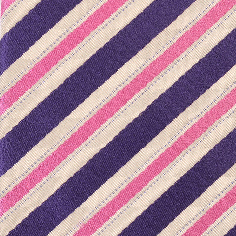 KITON Napoli Hand-Made Seven Fold Pink-Purple Repp Striped Silk Tie NEW - SARTORIALE - 4
