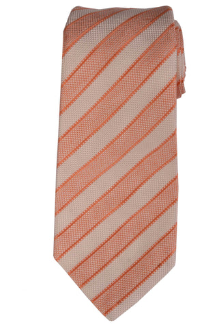 KITON Napoli Hand-Made Seven Fold Pink-White Striped Silk Tie NEW - SARTORIALE - 1