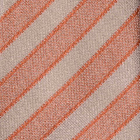 KITON Napoli Hand-Made Seven Fold Pink-White Striped Silk Tie NEW - SARTORIALE - 4