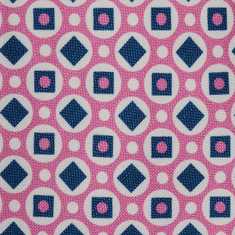 KITON Napoli Hand-Made Seven Fold Pink Circle Medallion Silk Tie NEW