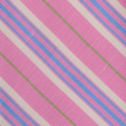 KITON Napoli Hand-Made Seven Fold Pink Diagonal Striped Silk Tie NEW