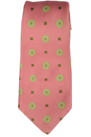 KITON Napoli Hand-Made Seven Fold Pink Medallion Silk Tie NEW - SARTORIALE - 1