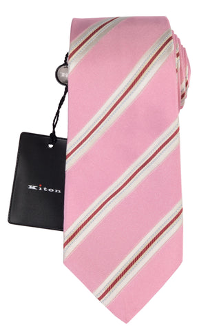 KITON Napoli Hand-Made Seven Fold Pink Striped Silk Tie NEW