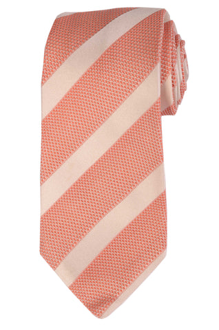 KITON Napoli Hand-Made Seven Fold Pink Striped Silk Tie NEW - SARTORIALE - 1
