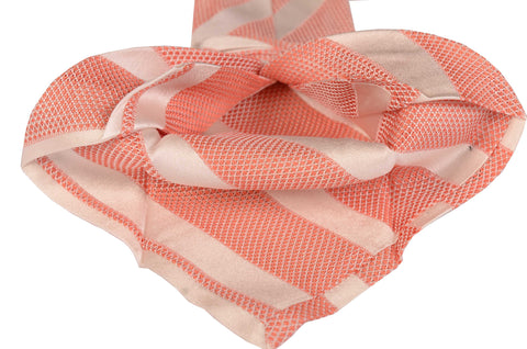 KITON Napoli Hand-Made Seven Fold Pink Striped Silk Tie NEW - SARTORIALE - 2