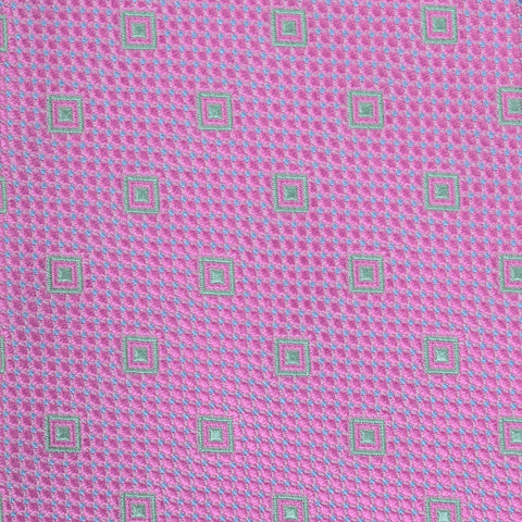 KITON Napoli Hand-Made Seven Fold Pink Textured Square Medallion Silk Tie NEW