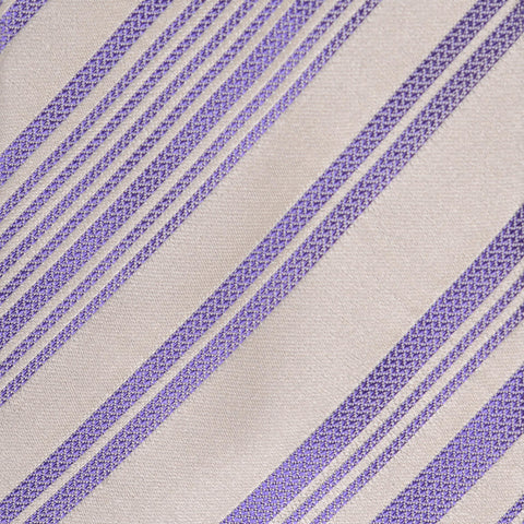 KITON Napoli Hand-Made Seven Fold Purple-Cream Striped Silk Tie NEW