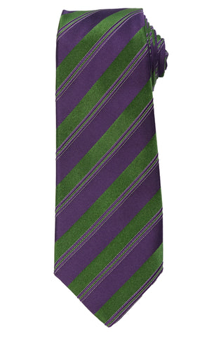 KITON Napoli Hand-Made Seven Fold Purple-Green Striped Silk Tie NEW