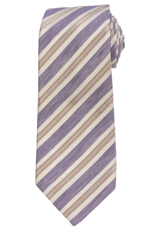 KITON Napoli Hand-Made Seven Fold Purple-Ivory Narrow-Striped Silk Tie NEW