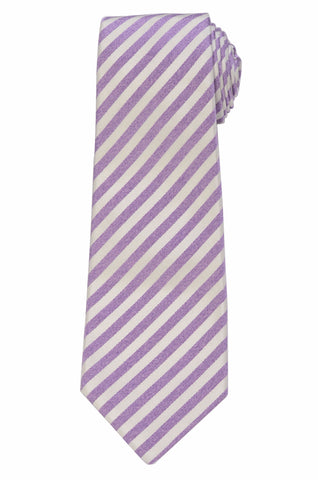 KITON Napoli Hand-Made Seven Fold Purple-White Striped Silk Tie NEW