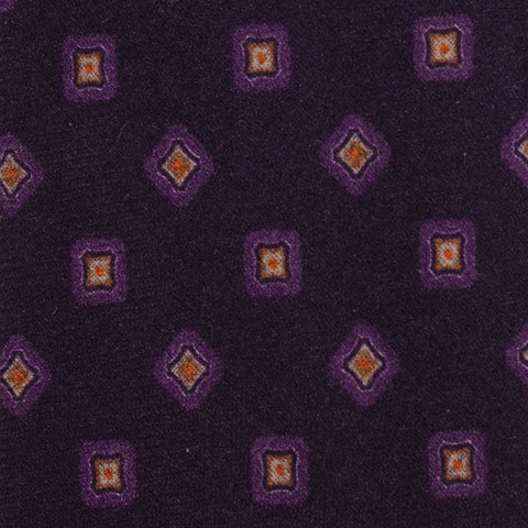KITON Napoli Hand-Made Seven Fold Purple Cashmere-Silk Tie NEW
