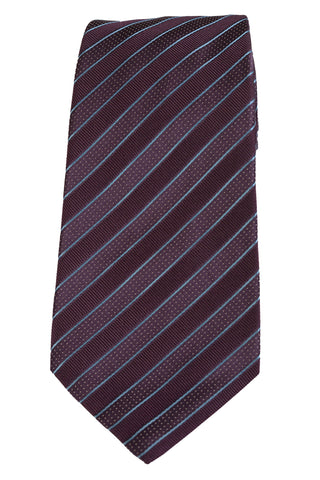 KITON Napoli Hand-Made Seven Fold Purple Diagonal Repp Striped Silk Tie NEW - SARTORIALE - 1