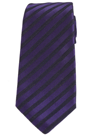 KITON Napoli Hand-Made Seven Fold Purple Diagonal Striped Silk-Wool Tie NEW - SARTORIALE - 1