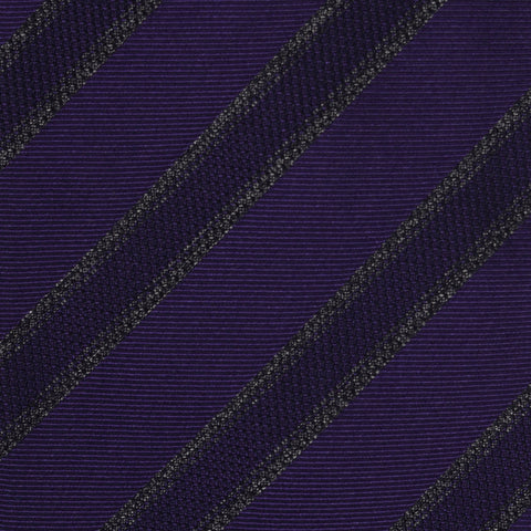 KITON Napoli Hand-Made Seven Fold Purple Diagonal Striped Silk Tie NEW