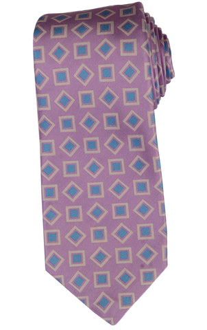 KITON Napoli Hand-Made Seven Fold Purple Fancy Square Medallion Silk Tie NEW - SARTORIALE - 1