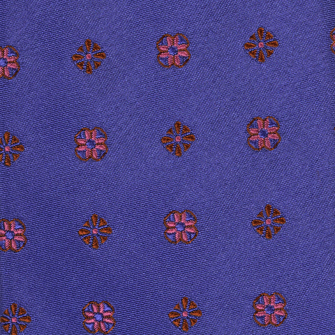 KITON Napoli Hand-Made Seven Fold Purple Floral-Medallion Silk Tie NEW