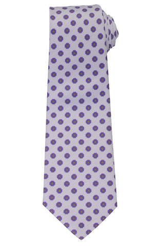 KITON Napoli Hand-Made Seven Fold Purple Floral Silk Tie NEW