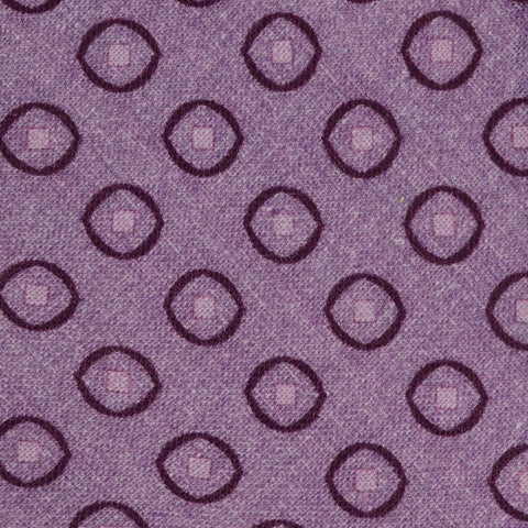 KITON Napoli Hand-Made Seven Fold Purple Medallion Silk Tie NEW
