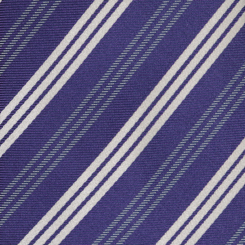 KITON Napoli Hand-Made Seven Fold Purple Narrow-Striped Silk Tie NEW