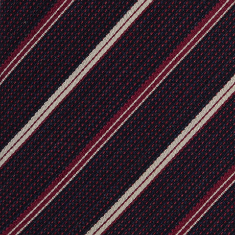 KITON Napoli Hand-Made Seven Fold Purple Pain Weave Striped Silk Tie NEW