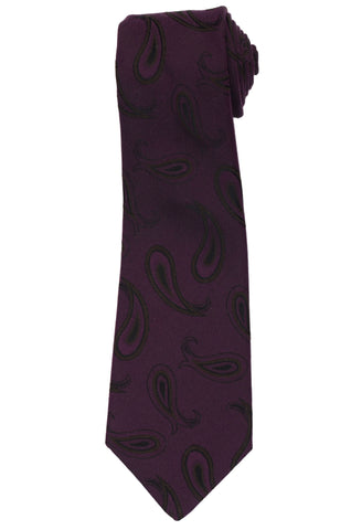 KITON Napoli Hand-Made Seven Fold Purple Paisley Silk Tie NEW