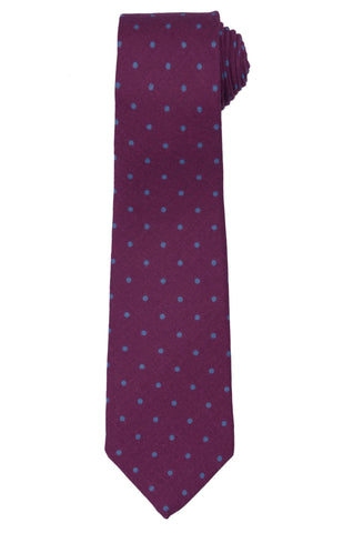 KITON Napoli Hand-Made Seven Fold Purple Polka-Dot Wool-Silk Tie NEW