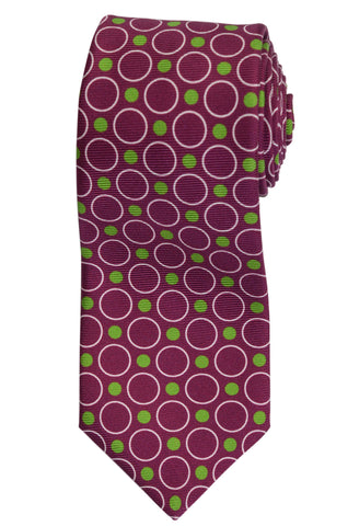KITON Napoli Hand-Made Seven Fold Purple Polka Dot Silk Tie NEW