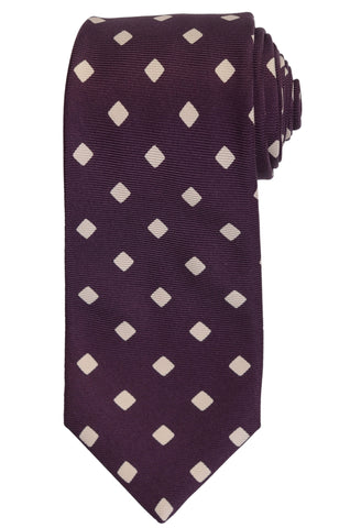 KITON Napoli Hand-Made Seven Fold Purple Silk Tie NEW