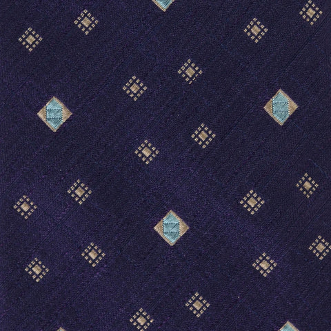KITON Napoli Hand-Made Seven Fold Purple Square-Medallion Silk Tie NEW