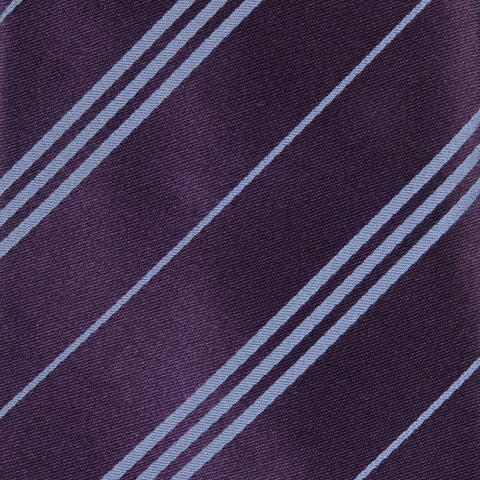 KITON Napoli Hand-Made Seven Fold Purple Striped Satin Silk Tie NEW