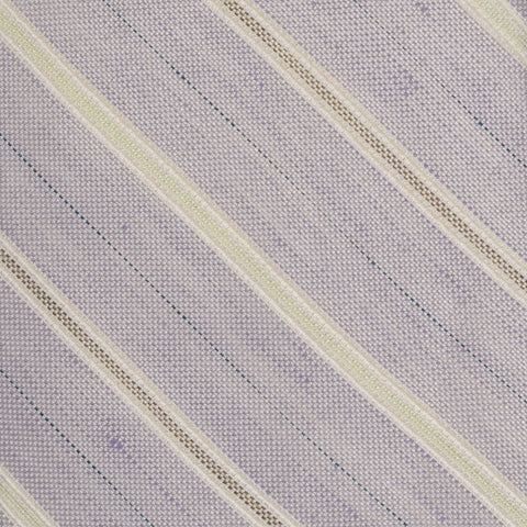 KITON Napoli Hand-Made Seven Fold Purple Striped Silk Tie NEW