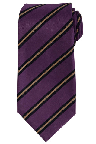 KITON Napoli Hand-Made Seven Fold Purple Striped Silk Tie NEW - SARTORIALE - 1