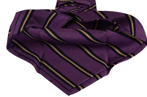 KITON Napoli Hand-Made Seven Fold Purple Striped Silk Tie NEW - SARTORIALE - 2